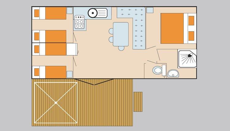zeer ruime stacaravans complete keuken met hoge koelkast ruime badkamer en apart toilet standaard airconditioning ruim terras